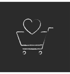 Shopping cart with heart icon drawn in chalk vector