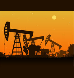 Silhouettes of oil pumps vector