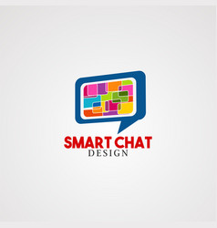 smart chat logo icon element and template for vector image