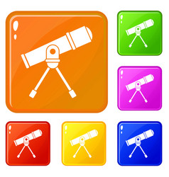 Space telescope icons set color vector