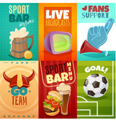 Sport bar cards banners set vector
