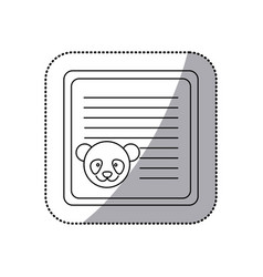 Sticker monochrome card with male panda head vector