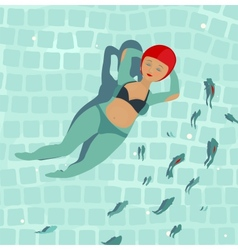 Swimming Beautiful Woman in Pool vector image vector image