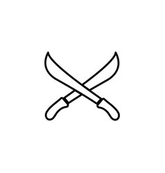 sword cross line icon in flat style for apps ui vector image