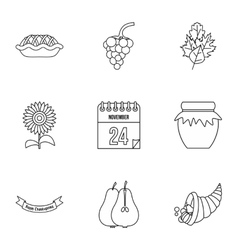 Thanksgiving feast icons set outline style vector