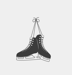 tied ice skates isolated on a white background vector image