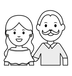 traditional mexicans couple characters vector image