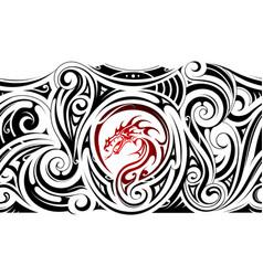 tribal art sleeve tattoo with dragon shape vector image