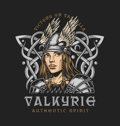 Viking colorful vintage print vector