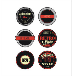 vintage labels black and red set 3 vector image vector image