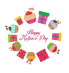 Vintage mothers day cupcakes and gifts vector