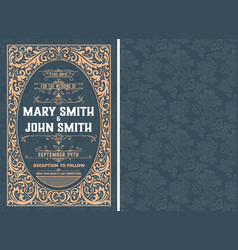 vintage wedding invitation layout layered vector image