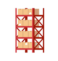 Warehouse shelves with boxes red metal rack vector