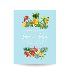 Wedding invitation with tropical fruits and palm vector