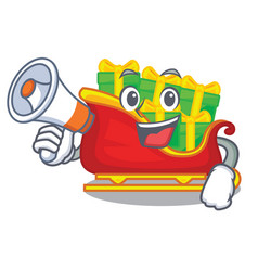 with megaphone santa sleigh with piles presents vector image
