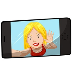 Woman smiling on cellphone screen vector image