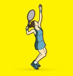 woman tennis player serve vector image