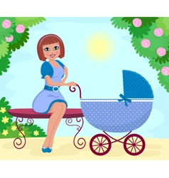 Woman with stroller vector