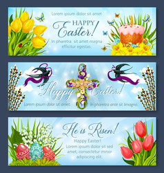 easter banner set with egg cake and flower cross vector image