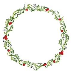 Holly wreath vector image