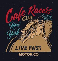 new york cafe racers clubmotorcycle cafe racer vector image