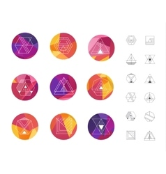 Set of colored geometric crystal circles in vector image