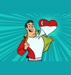 singapore patriot male sports fan flag heart vector image vector image