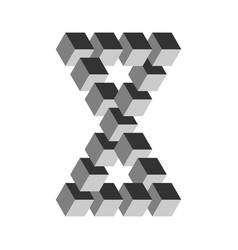 two connected impossible triangles in grey 3d vector image vector image