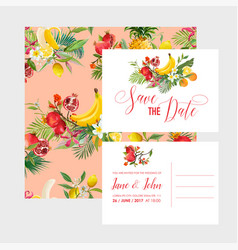 wedding invitation template set tropical fruits vector image