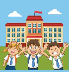 cheerful student school building back yard vector image vector image