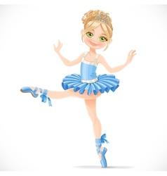 Graceful ballerina girl dancing in blue dress vector image vector image