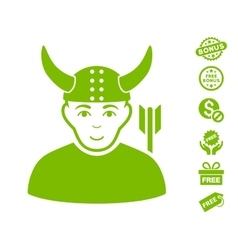 Horned Warrior Icon With Free Bonus vector image