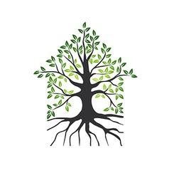 Natural eco house logo vector