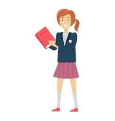 Schoolgirl with Book Isolated Character vector image