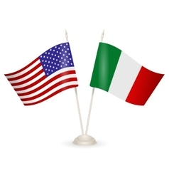 Table stand with flags of Italy and USA vector image vector image