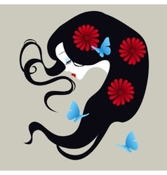 beautiful silhouette of a girl with flowers in her vector image vector image