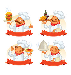chef serving the dish funny cartoon character vector image