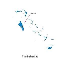 Detailed map of Bahamas and capital city Nassau vector image vector image