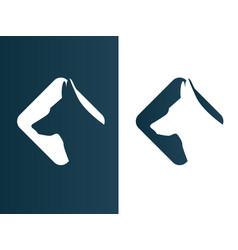 dog wolf logos set minimalist icon - isolated vector image