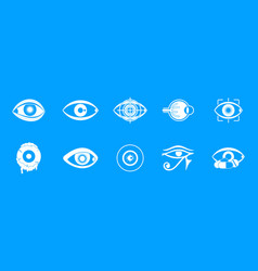 eyes icon blue set vector image