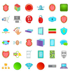 internet crime icons set cartoon style vector image vector image