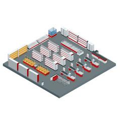 isometric supermarket interior plan image vector image vector image