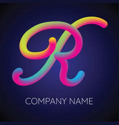 r letter logo icon blending color vector image