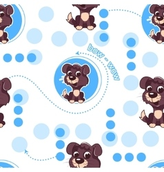 Seamless pattern with cute cartoon dog Baby vector image vector image