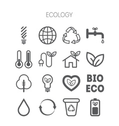 Set of simple monochromatic ecology icons vector image vector image