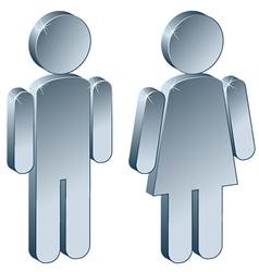 3d metallic male female vector image vector image
