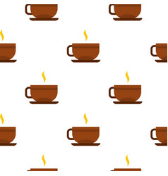 Brown tea cup and saucer pattern seamless vector