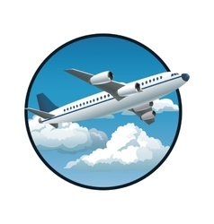 plane blue sky clouds circle background vector image