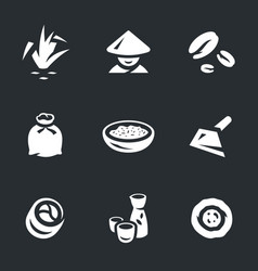 set of rice icons vector image vector image