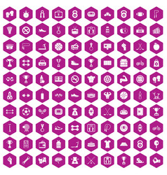 100 boxing icons hexagon violet vector